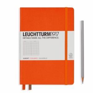 Leuchhturm A5 Medium Orange Squared Hardcover Notebook